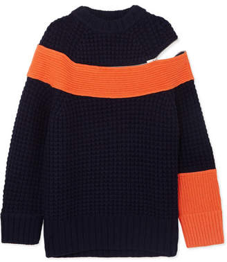 Sacai Color-block Knitted Sweater - Navy
