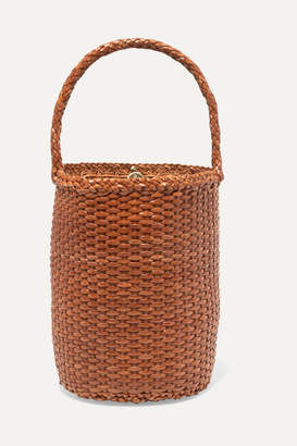 Dragon Optical Diffusion - B Weave Bucket Small Woven Leather Tote - Tan