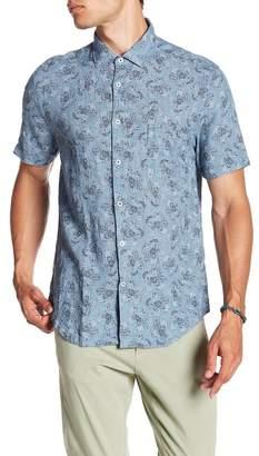 Good Man Brand Short Sleeve Linen Tokyo Aloha Print Trim Fit Shirt