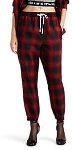 Alexander Wang Women's Plaid Wool Jogger Pants - Red