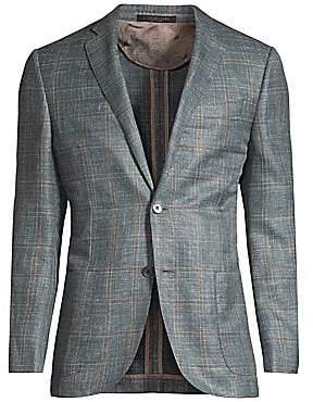 Corneliani Men's Regular-Fit Windowpane Wool Jacket