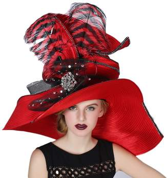 Church's June's Young Women Hats Large Brim Large Feather Party Fedoras