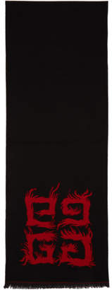 Givenchy Red and Black 4G Flame Scarf