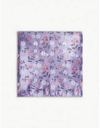 Duchamp Daisy floral print silk pocket square