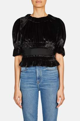 Brock Collection Tammy Pleated Top With Grosgrain Waistband - Black