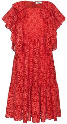MSGM Ruffled Broderie Anglaise Midi Dress