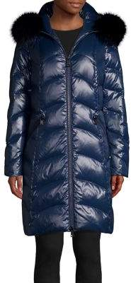 1 Madison Long Quilted Fox Fur-Timmed Puffer Jacket