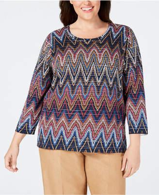 Alfred Dunner Plus Size News Flash Chevron-Print Top