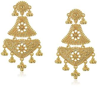 18k Gold Over Fine Silver Plated Bronze Indian Ethnic Chand Bali Drop Post Stud Earrings