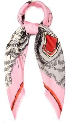 Gucci Tiger Face Print Silk Twill Scarf - Womens - Pink