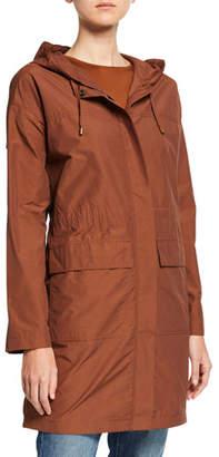 Eileen Fisher Petite Organic Cotton/Nylon Hooded Long Jacket