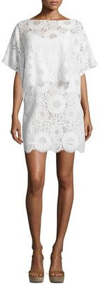 Trina Turk Flutter-Sleeve Lace Popover Sheath Dress $428 thestylecure.com