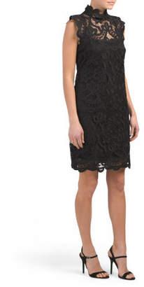 High Neck Lace Short Dress