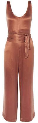 Hatch The Serena Belted Crinkled-jersey Jumpsuit - Brown