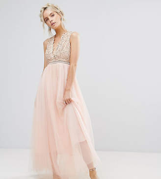 True Decadence Petite Premium Metallic Applique Top Maxi Dress With Tulle Skirt