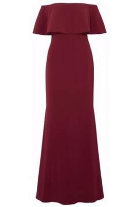 Badgley Mischka Off-The-Shoulder Eyelet-Detailed Crepe Gown