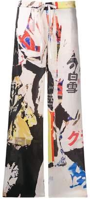 Marques Almeida Marques'almeida Poster print flared trousers