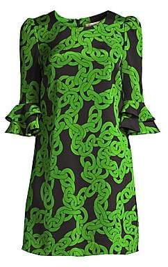 Diane von Furstenberg Women's Louise Chain Print Stretch Shift Dress