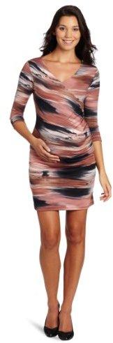 Three Seasons Maternity Women's 3/4 Sleeve Print Surplice Side Ruche Dress