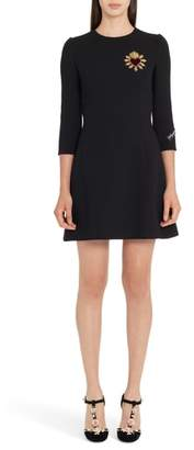 Dolce & Gabbana Heart Patch Wool Crepe Dress