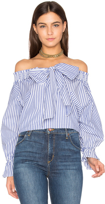 J.O.A. Off Shoulder Stripe Top $59 thestylecure.com