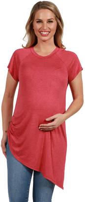 24/7 Comfort Apparel Zola Asymmetric Short Sleeve Maternity Tee