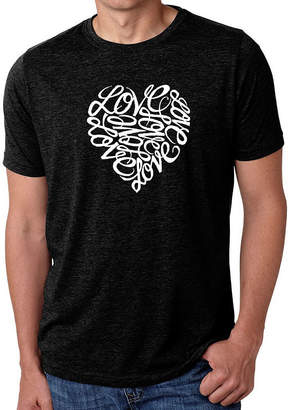 Blend of America LOS ANGELES POP ART Los Angeles Pop Art Men's Big & Tall Premium Word Art T-Shirt - Love
