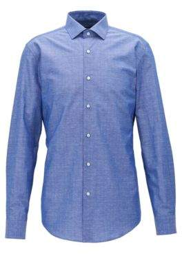 BOSS Hugo Cotton Linen Dress Shirt, Slim Fit Ismo 16 Blue