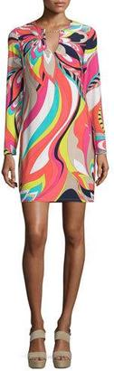 Trina Turk Long-Sleeve Floral-Print Dress, Multi Colors $278 thestylecure.com