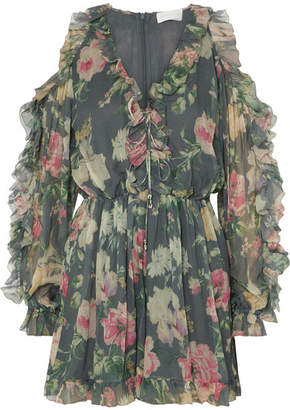 Zimmermann Iris Cold-shoulder Floral-print Silk-georgette Playsuit - Gray green