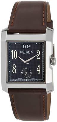 Bulgari Enigma By Gianni Square Watch w/ Leather Strap, Brown