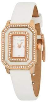Ted Baker Rose Goldtone Stainless Steel, Mother-Of-Pearl & Leather-Strap Watch
