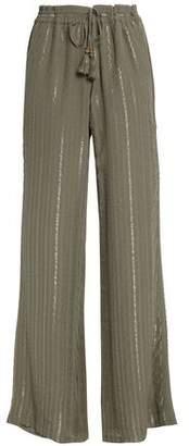 Joie Metallic Striped Silk-Blend Wide-Leg Pants