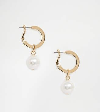 Monki faux pearl drop hoop earrings in gold