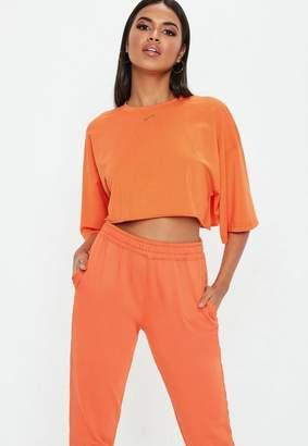 Missguided Orange Oversized Crop T Shirt