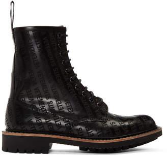 Vetements Black Churchs Edition Logo Ankle Boots