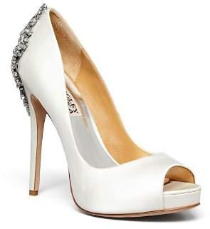 Badgley Mischka Women's Kiara Peep Toe Satin Platform High-Heel Pumps
