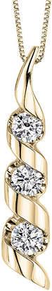 Sirena 1/2 CT. T.W. Diamond 14K Yellow Gold 3-Stone Pendant Necklace