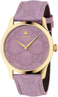 Gucci G-Timeless Logo Leather Strap Watch, 38mm
