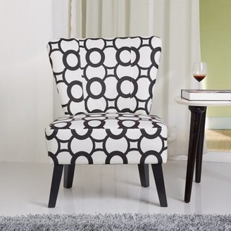 US Pride Furniture Cora Contemporary Patterned Fabric Upholstered Accent Chair, Black/White, C-040
