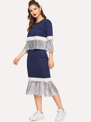 Shein Contrast Sequin Top and Fishtail Hem Skirt Set