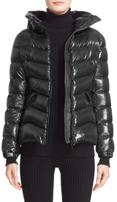Women's Moncler Anthia Water Resistant Shiny Nylon Hooded Down Puffer Jacket $1,180 thestylecure.com
