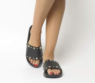 Office Spike Pyramid Stud Slides Black With Gold Studs