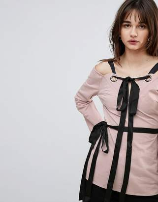 Lost Ink Top With Eyelet Tie Details