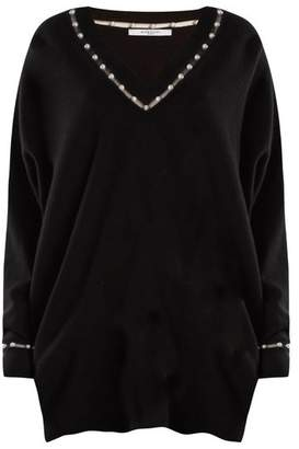 Givenchy - Pearl Embellished V Neck Wool Blend Sweater - Womens - Black