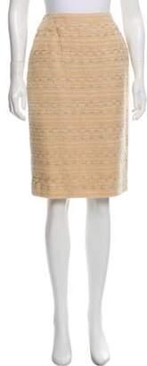 Chanel Tweed Pencil Skirt Tan Tweed Pencil Skirt
