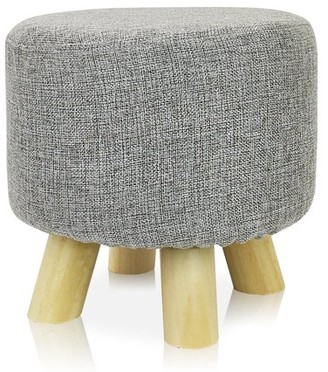 DL furniture - Round Ottoman Foot Stool, 4 Leg Stands Round Shape | Linen Fabric, Gray Cover
