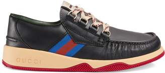 Gucci Leather lace-up shoe with Web