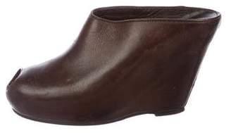 Rick Owens Leather Peep-Toe Mules