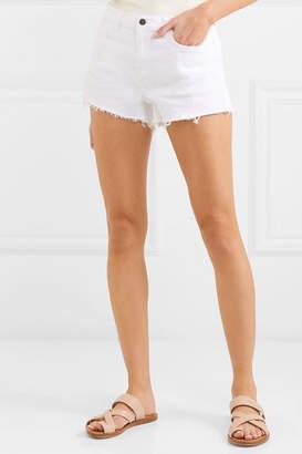 L'Agence Ryland Frayed Stretch-denim Shorts - White